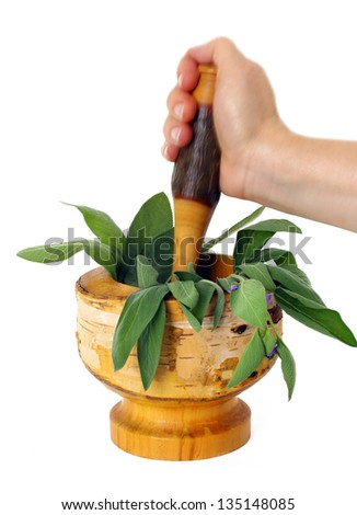 Healing herbs and edible flowers with mortar and pestle - stock photo