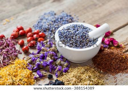 Healing herbs, herbal tea assortment and healthy berries on wooden table. Herbal medicine. Selective focus. - stock photo