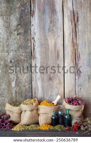 Healing herbs in hessian bags on old wooden background, herbal medicine. - stock photo