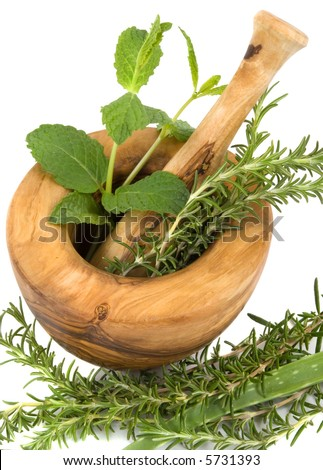 Healing herbs on white background (handcarved olive tree mortar and pestle)