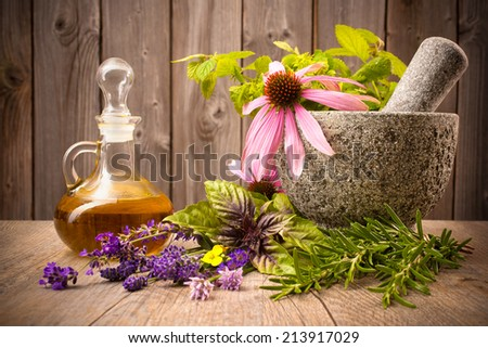 Healing herbs with mortar and bottle of essential oil on wood - stock photo