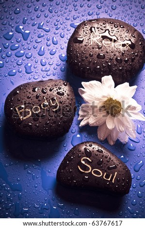 healing stones and flower, concept of spiritual wellness and reiky - stock photo