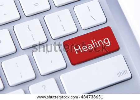 Healing word in red keyboard buttons