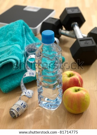 Health and fitness equipment  isolated against a white background - stock photo