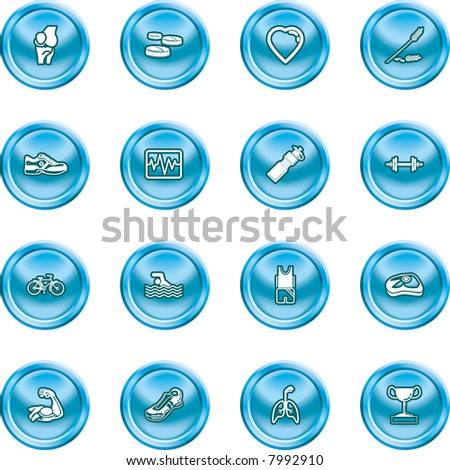 Health and Fitness Icon Set icons or design elements relating to health and fitness. Raster version