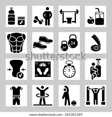 Health and Fitness icons - stock photo