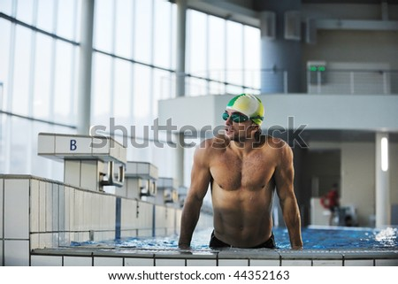 health and fitness lifestyle concept with young athlete swimmer recreating  on olimpic pool - stock photo