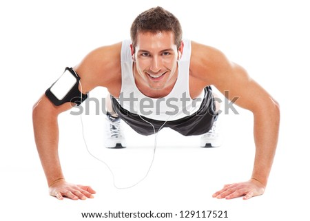 Health and fitness / Young sport man doing exercises - stock photo