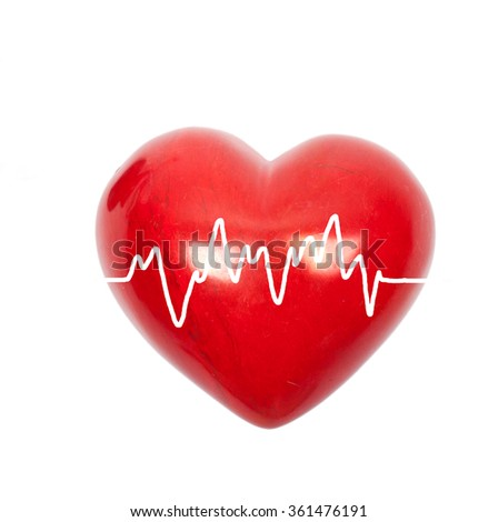 health and medicine concept - red heart with ecg line, isolated on white - stock photo