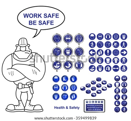 Health and Safety construction icons and sign collection with work safe be safe message isolated on white background - stock photo