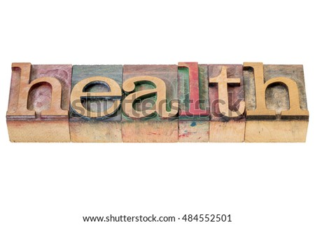 health banner - isolated word abstract in letterpress wood type blocks