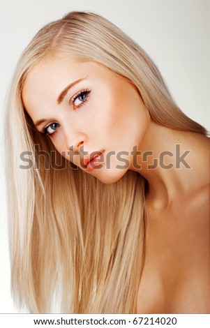 Health, beauty, wellness, haircare, cosmetics and make-up. Beautiful fashion model - stock photo