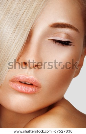 Health, beauty, wellness, haircare, cosmetics and make-up. Beautiful fashion model. - stock photo