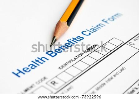 Health benefit claim form - stock photo