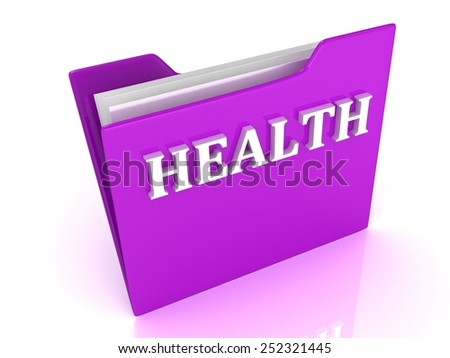 HEALTH bright white letters on a lilac folder on a white background - stock photo