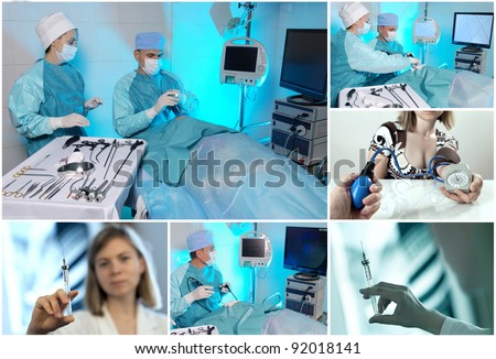 Health care and medical collage - stock photo