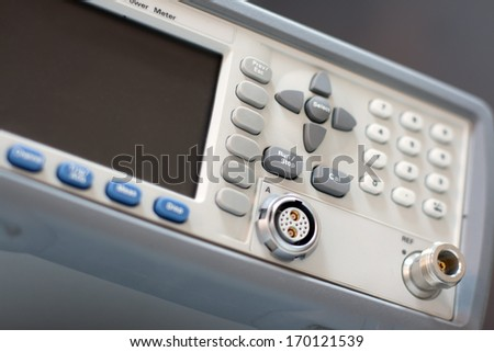 Health care concept. Electrical complex meter unit with dark LCD on interface front panel - stock photo