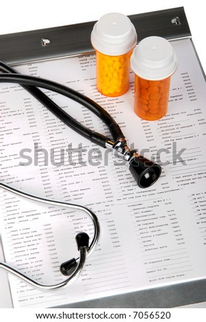Health care concept featuring lab test results - stock photo