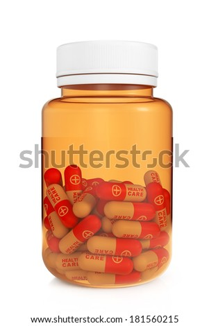 Health Care Concept. Medical Bottle with pills on a white background - stock photo