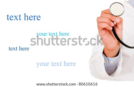 Health care concept. Stethoscope in man hand.