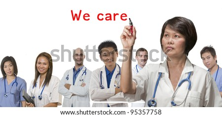 Health care concept with Doctors and Nurses - stock photo