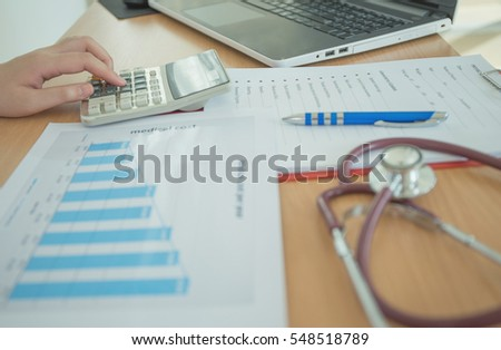 Health Care Costs Concept Picture Stethoscope Stock Photo Royalty