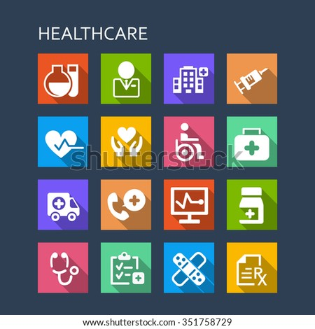 Health Care icon set - Flat Series with long shadows