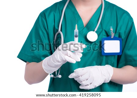 Health care in hospital. Syringe, medical injection in hand, palm or fingers. Medicine plastic vaccination equipment with needle. Nurse or doctor. Liquid drug or narcotic. Isolated on white - stock photo