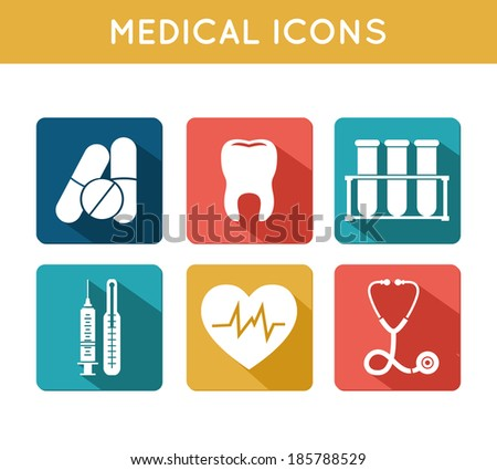 Health care medical icons set of blood tube thermometer syringe and heart rate isolated  illustration - stock photo
