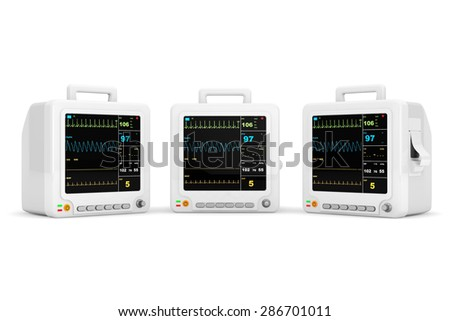 Health care portable cardiac monitoring equipment on a white background. 3d rendering