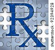 Health care reform concept with a RX pharmacy medical symbol in a puzzle jigsaw texture with pieces missing as change to the status quo of the broken hospital care insurance that needs to be fixed. - stock photo