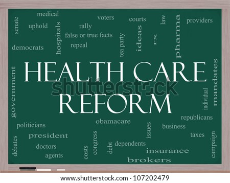 Health Care Reform Word Cloud Concept on a Blackboard with great terms such as healthcare, politics, courts, insurance, costs, business, repeal and more - stock photo