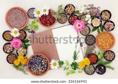 Health care using herbal medicine flower and herb selection with hemp notebook over cream paper background. - stock photo