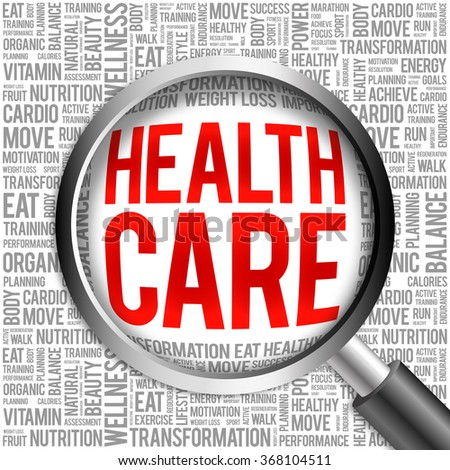 Health care word cloud with magnifying glass, health concept