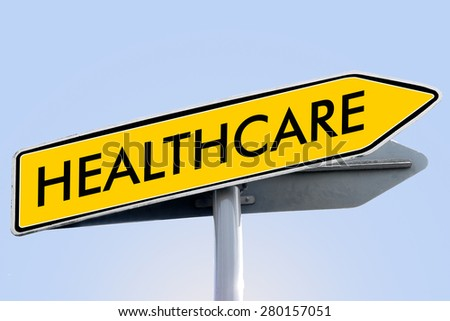 health care word on yellow roadsign concept