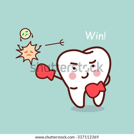 health cartoon tooth boxing with bacteria, great for health dental care concept - stock photo