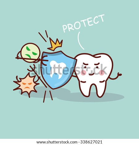 health cartoon tooth with shield, great for health dental care concept - stock photo