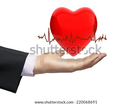 health concept: a hearth over a businessman hand with electrocardiogram