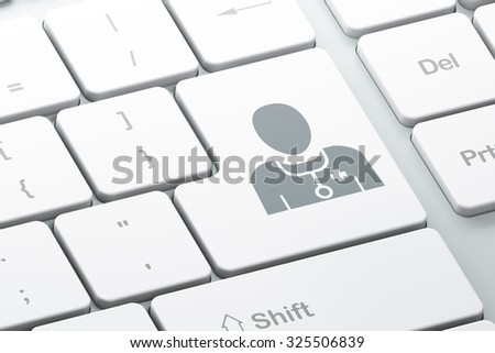 Health concept: Enter button with Doctor on computer keyboard background, 3d render