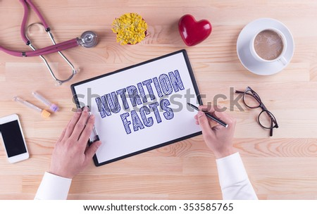 Health Concept: NUTRITION FACTS - stock photo