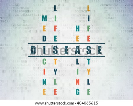 Health concept: Painted blue word Disease in solving Crossword Puzzle on Digital Paper background - stock photo