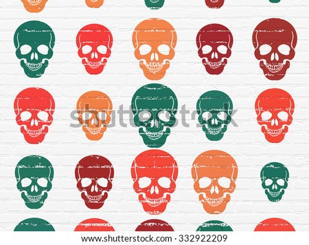 Health concept: Painted multicolor Scull icons on White Brick wall background