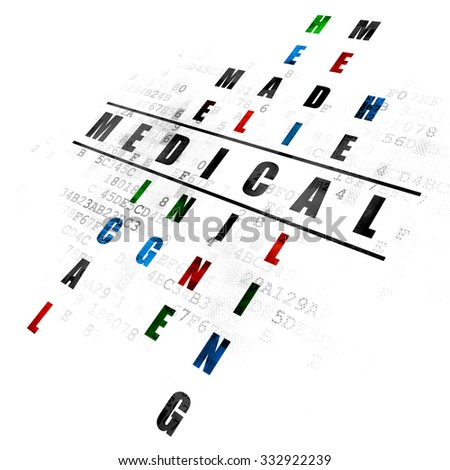 Health concept: Pixelated black word Medical in solving Crossword Puzzle on Digital background - stock photo