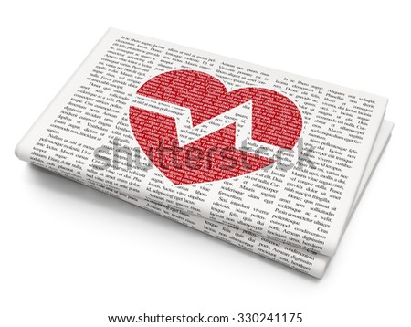 Health concept: Pixelated red Heart icon on Newspaper background - stock photo