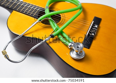 Health concepts. Music heal the damaged soul and make people happy. - stock photo