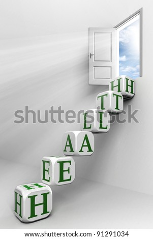 health conceptual door with sky and box green word  ladder in white room metaphor - stock photo