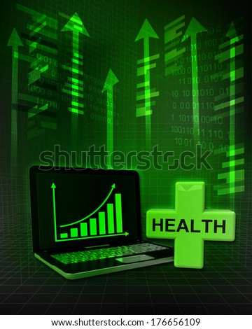 health cross with positive online results in business illustration - stock photo