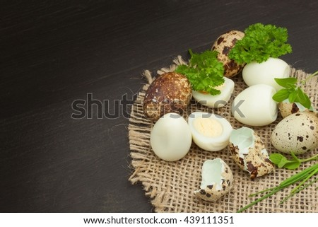 Health & Diet quail eggs on the kitchen table. Some fresh eggs of quail on the table. Quail eggs ready to eat. Advertising on trading with eggs.  - stock photo
