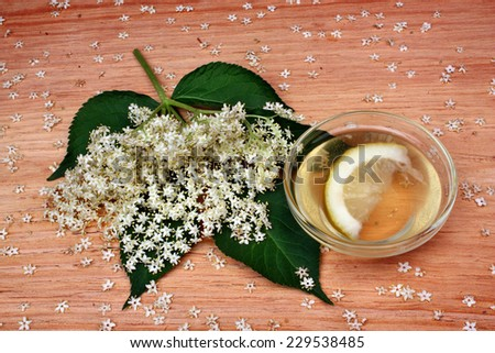 Health drink  from elderberry flowers  on a wooden table - stock photo