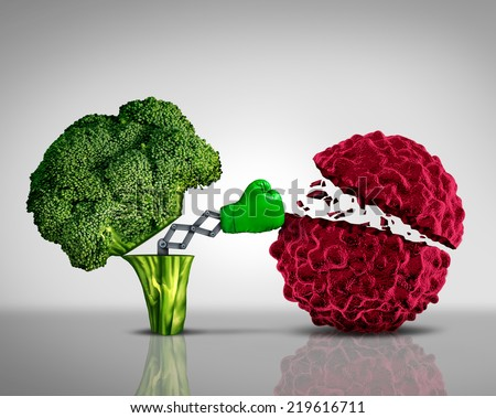 Health food and Cancer fighting foods nutrition concept with a green boxing glove emerging out of an open broccoli vegetable as a health care metaphor for a healthy lifestyle diet. - stock photo